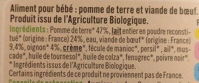 Assiette hachis parmentier U_TOUT_PETITS Bio - Ingredients - fr