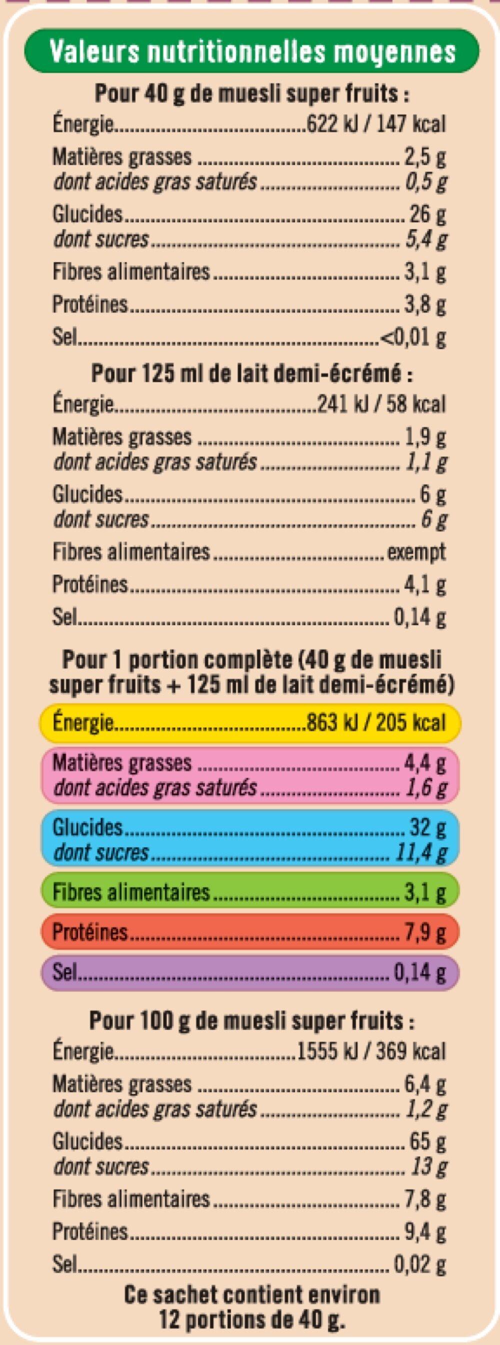 Muesli super fruits - Nutrition facts - fr