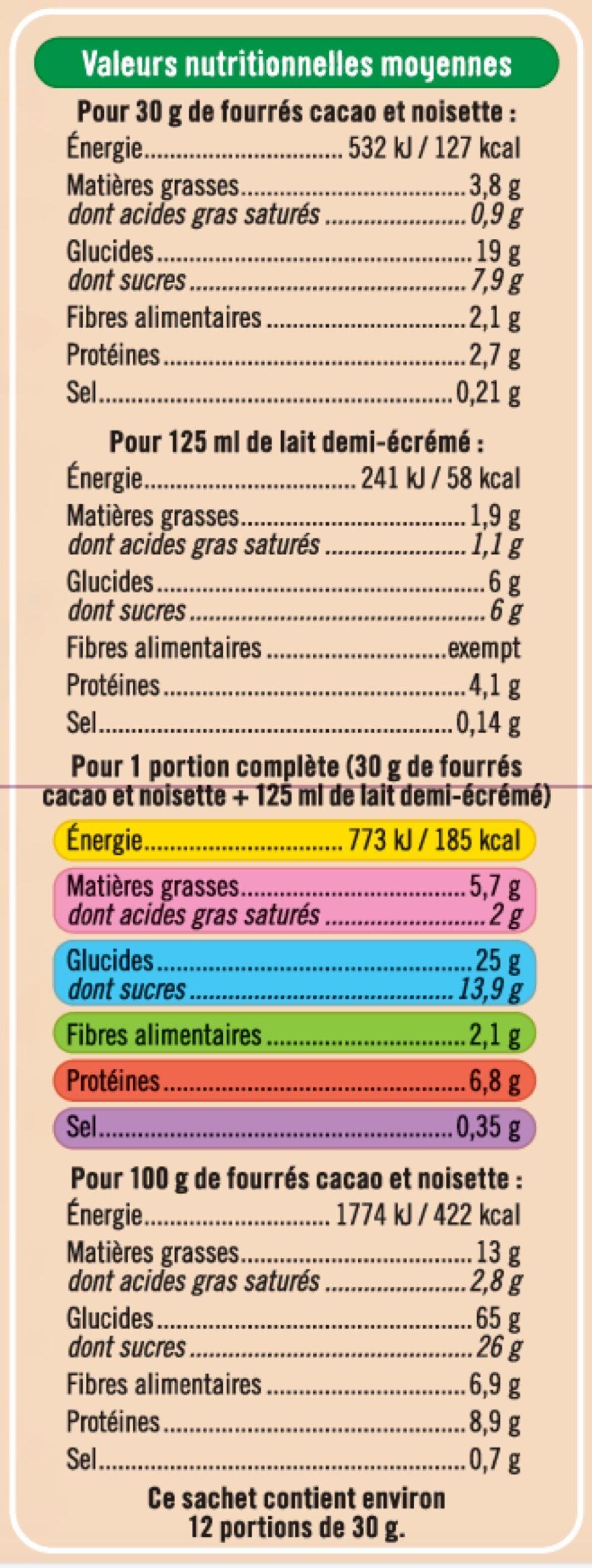 Céréales fourrées chocolat noisettes - Valori nutrizionali - fr