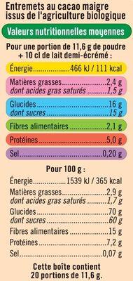 Préparation pour entremets chocolat - Informations nutritionnelles - fr