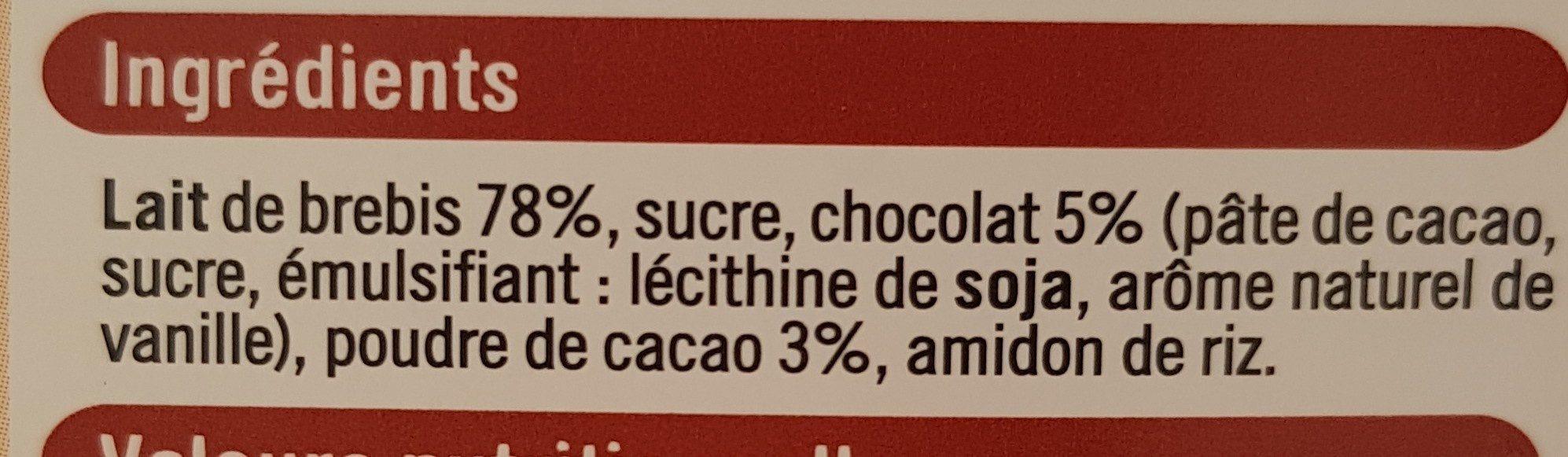 Crème dessert au chocolat - Ingredients