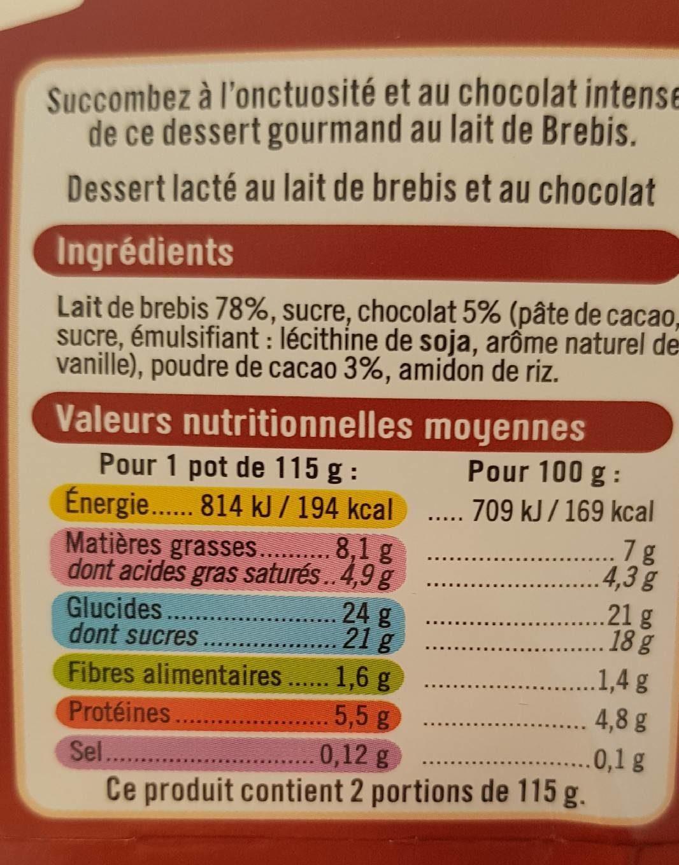 Crème dessert au chocolat - Nutrition facts
