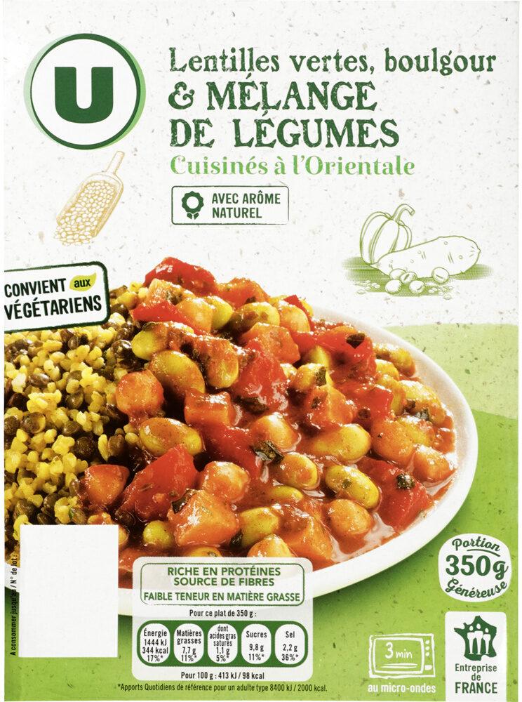 Lentilles vertes boulgour légumes cuisinés à l'orientale - Produit - fr