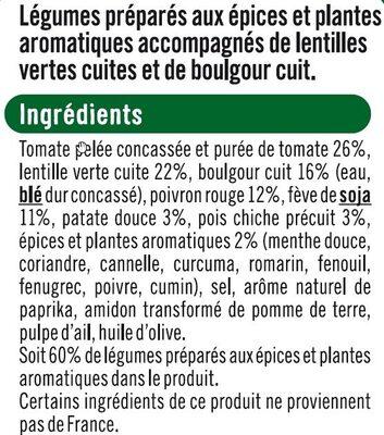Lentilles vertes boulgour légumes cuisinés à l'orientale - Ingrédients - fr