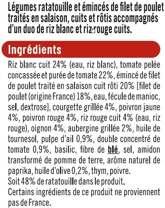 Poulet légumes ratatouille et duo de riz - Informations nutritionnelles - fr