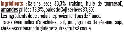 Snacking goji amandes raisins - Ingrédients - fr