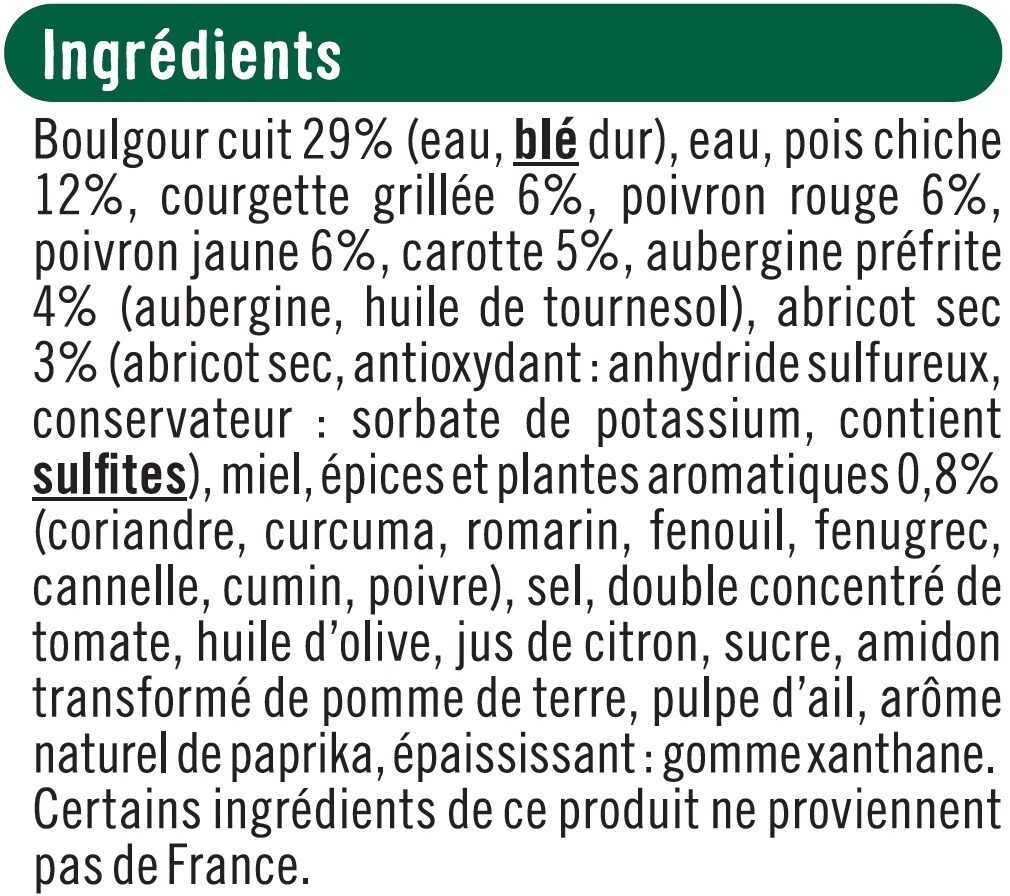 Tajine légumes bon et végétarien - Ingrédients