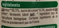 Yaourt sucre de canne bio - Ingredients