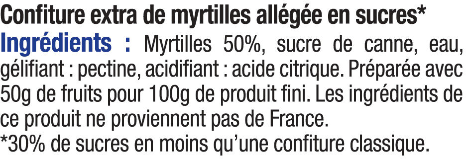 Confiture de myrtille allégée - Ingrediënten - fr