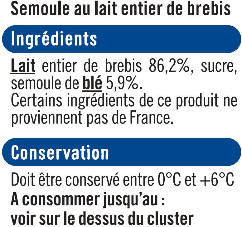 Semoule au lait de brebis nature sucré - Ingredients