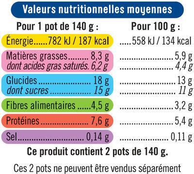 Semoule au lait de brebis nature sucré - Nutrition facts