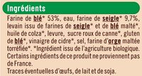 Pain spécial de campagne Bio - Ingrédients - fr