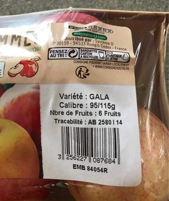 Pomme Gala, 6 fruits calibre 95/115 - Ingrédients - fr