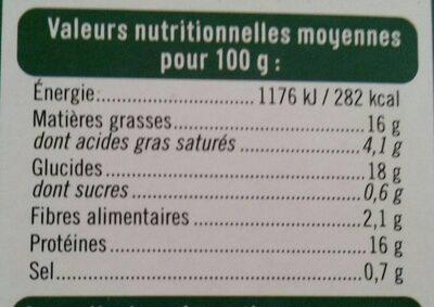 Croq'panés blé et fromage - Informations nutritionnelles - fr