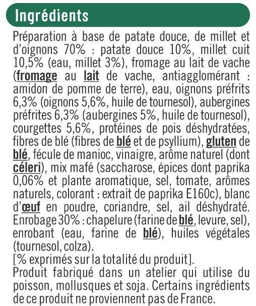 Panés au millet patate douce, aubergine paprika - Ingrédients - fr