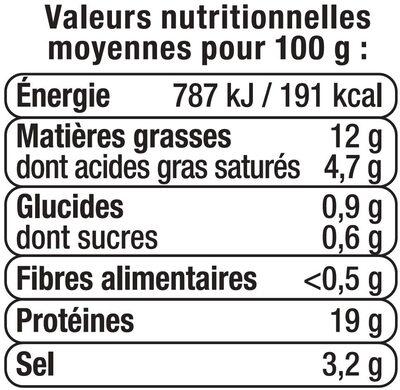 Râpé de lardons fumés cuits viande de porc française - Nutrition facts - fr