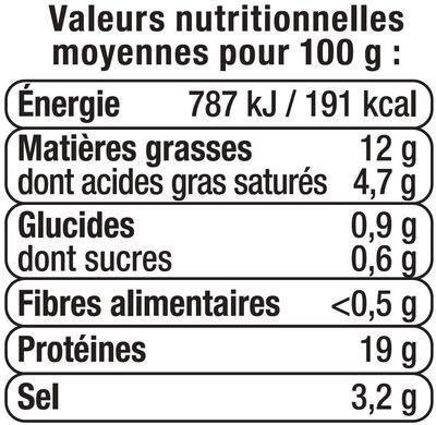 Râpé de lardons fumés cuits viande de porc française - Informations nutritionnelles - fr