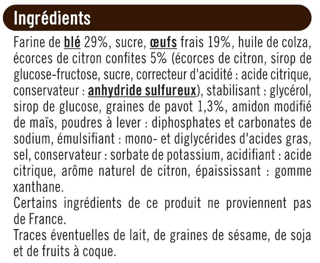 Tranches de cakes écorces de citron & graines de pavot - Ingrediënten