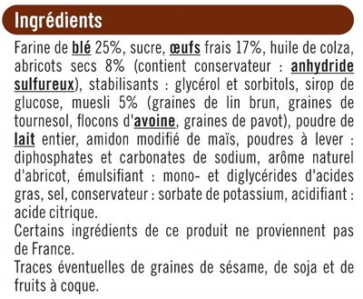 Tranches de cakes abricots & muesli - Ingrediënten