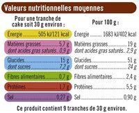 Tranches de cakes abricots & muesli - Voedingswaarden