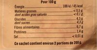 Framboises entières - Valori nutrizionali - fr