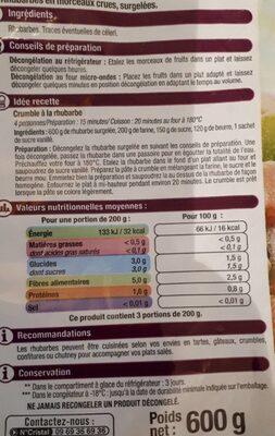 Rhubarbes surgelés - Informations nutritionnelles