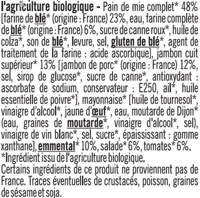 Sandwich jambon crudité paim mie complet - Ingrédients - fr