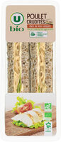 Sandwich a pain de mie complet garni de poulet rôti traité en salaisonet de crudités - Product - fr