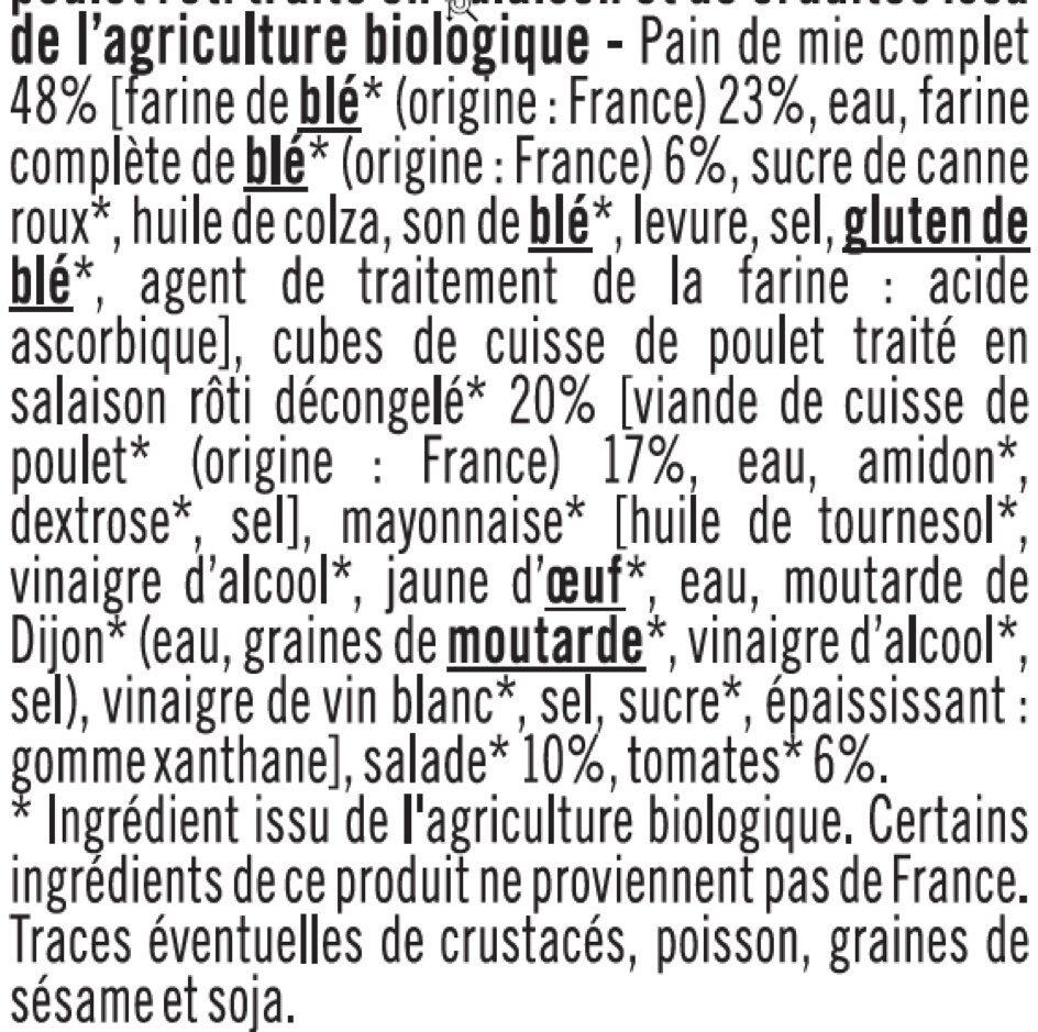 Sandwich a pain de mie complet garni de poulet rôti traité en salaisonet de crudités - Ingrediënten - fr