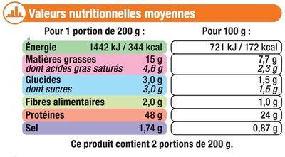 Emincés de poulet rôtis cuits surgelés - Informations nutritionnelles