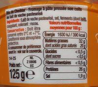 Dés Cheddar rouge pasteurisé 32%MG - Informations nutritionnelles - fr