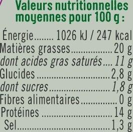 Fromage frais de chèvre - Informations nutritionnelles - fr