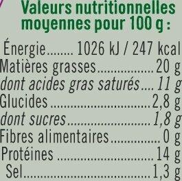 Fromage frais au lait de brebis pasteurisé 20% de MG - Informations nutritionnelles - fr