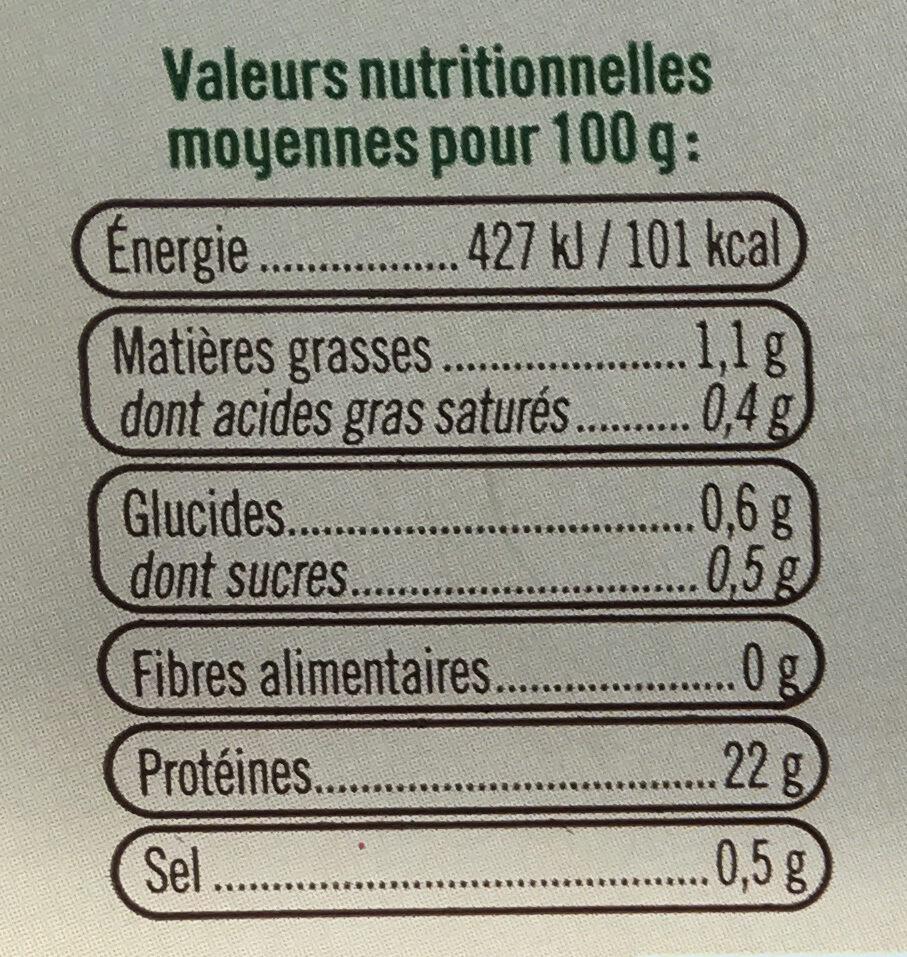 Crevettes cuites, penaeus vannamei, calibre 40/60 - Nutrition facts - fr