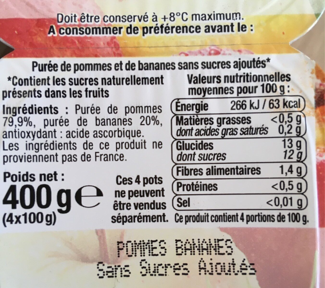 Purée de pommes banane sans sucres ajoutés - Informations nutritionnelles - fr