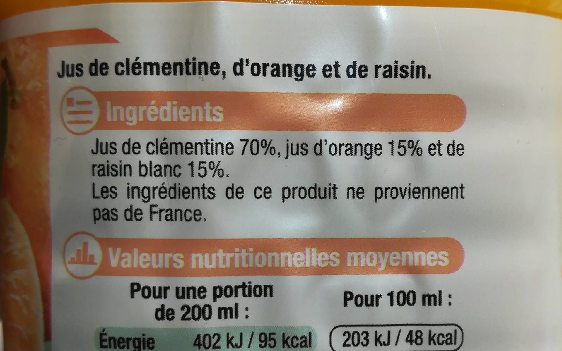 Pur jus clémentine orange raisin - Ingrediënten
