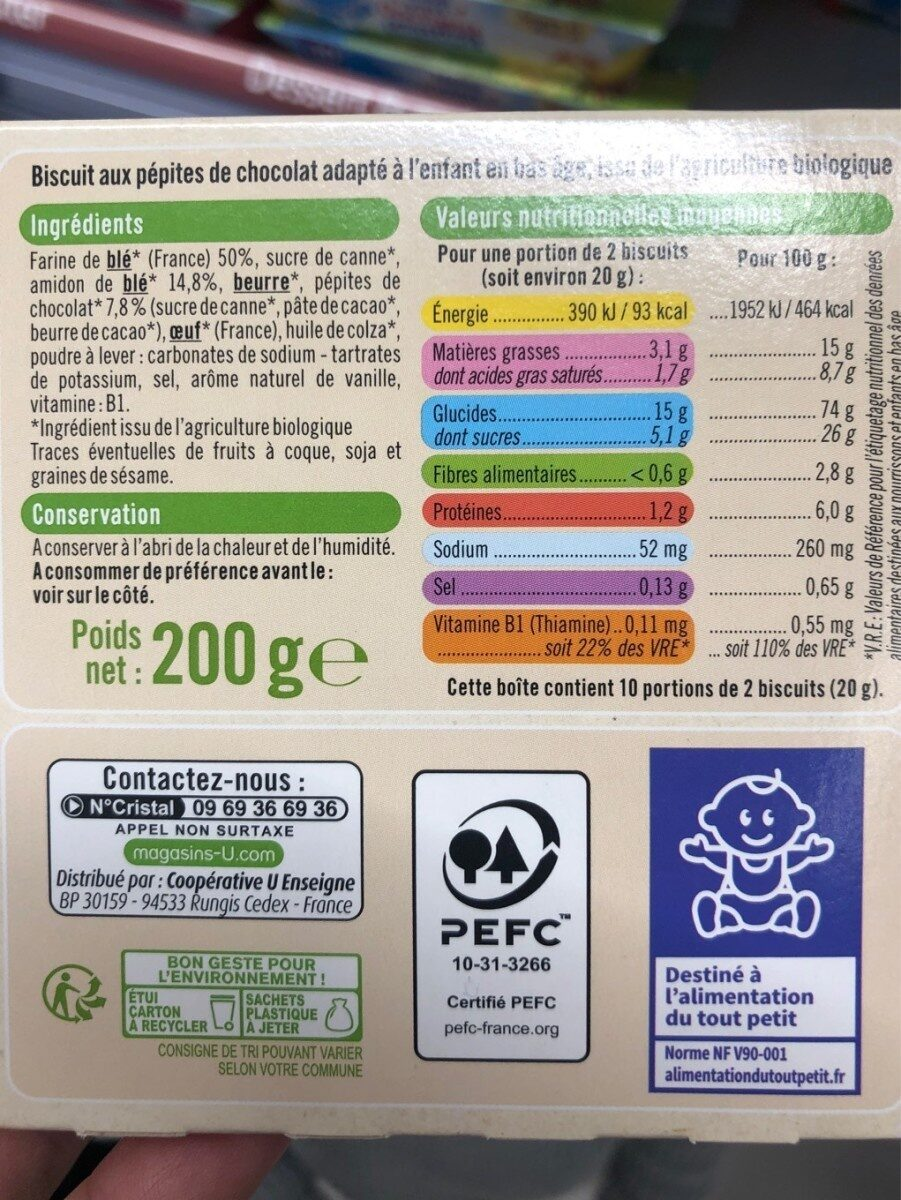 Biscuits pepites chocolat - Nutrition facts