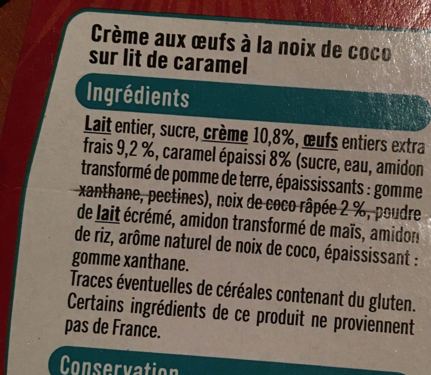 Crème aux oeufs noix de coco sur lit de caramel - Ingrédients - fr