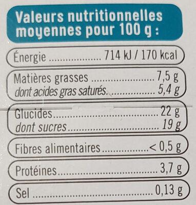 Crème aux oeufs noix de coco sur lit de caramel - Informations nutritionnelles - fr