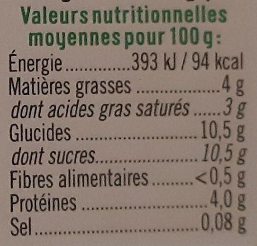 Yaourt brassé au lait de chévre - Informations nutritionnelles