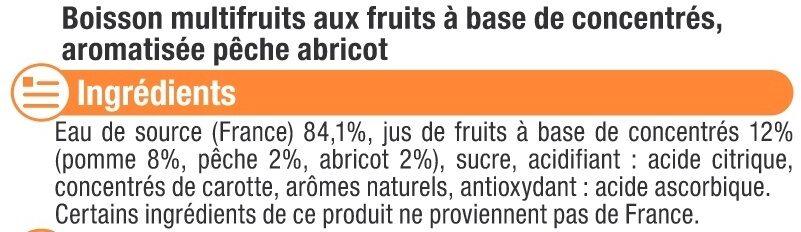 Boisson aux fruits plate pêche abricot - Ingredients - fr