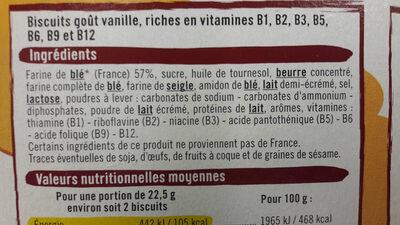 Biscuits nature Mat et Lou - İçindekiler
