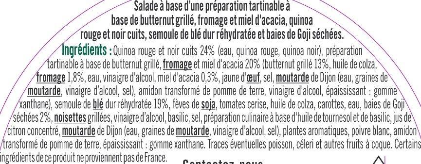 Semoule et duo de quinoa, tartinable butternut grillé et baies de Goji - Ingrédients - fr