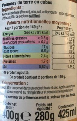 Pommes de terre en cubes - Ingrédients