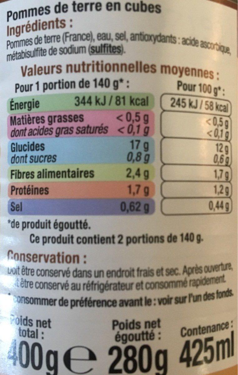 Pommes de terre en cubes - Ingrédients - fr
