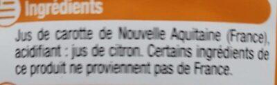Pur jus de carotte d'Aquitaine fruits de chez nous - Ingrédients - fr