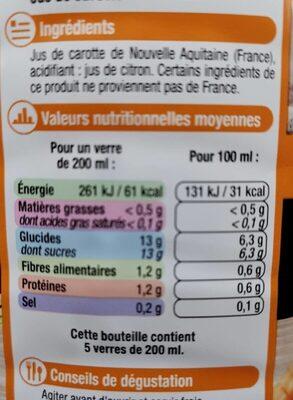 Pur jus de carotte d'Aquitaine fruits de chez nous - Informations nutritionnelles - fr