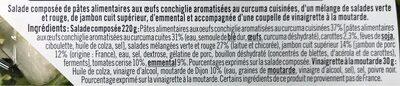 Salade parisienne conchiglie emmental jambon supérieur sauce vinaigrette - Ingrédients - fr