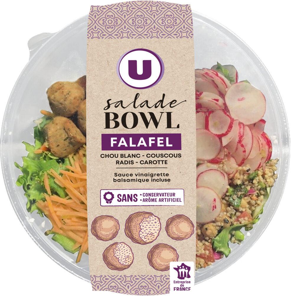 Buddha bowl falafels composé de légumes, salades verte et rouge, une préparation à base de pois chiche, fèves et coriandre, semoule de couscous réhydratée - Product - fr