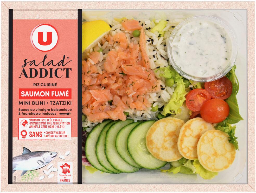 Salade addict saumon fumé mini blini tzatziki sauce au vinaigre balsamique - Product - fr